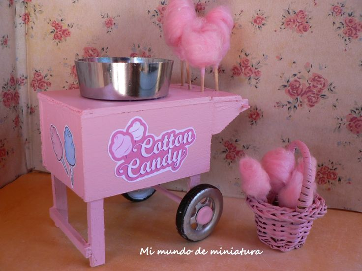 Mini Food Diy Miniature Cotton Candy Cart Tutorial Minis Pinterest Wool Silver Nails And