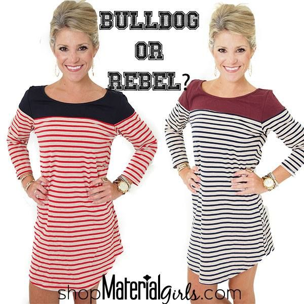 Tshirt striped dress! Tailgate ready. What to wear to MSU or Ole Miss games! Material Girls Game day glam!