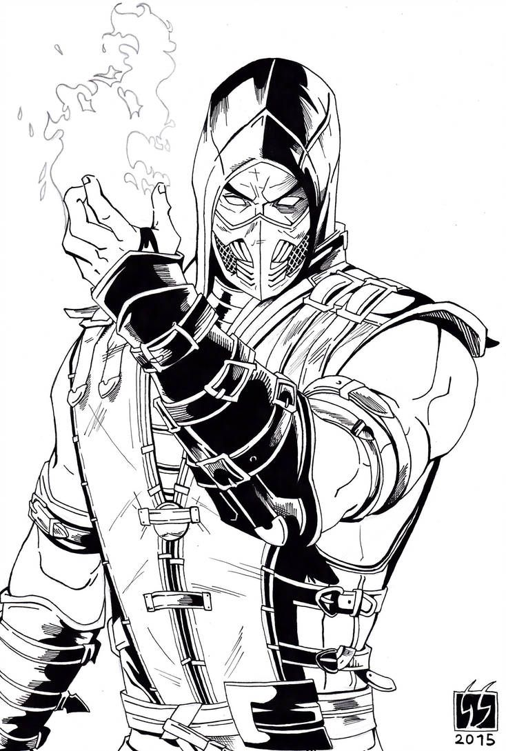 Scorpion Mortal Kombat X Black And White By Gabred Hat Scorpion Mortal Kombat Mortal Kombat Art Mortal Kombat Tattoo