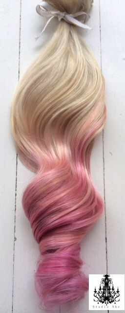 """Pastel Ombre Hair Extensions, Platinum Blonde and Pastel Pink Hair, Blonde Hair Extensions, Pink Hair, Clip In Human Hair Extensions, 16"""" by NinasCreativeCouture on Etsy https://www.etsy.com/listing/189644578/pastel-ombre-hair-extensions-platinum"""