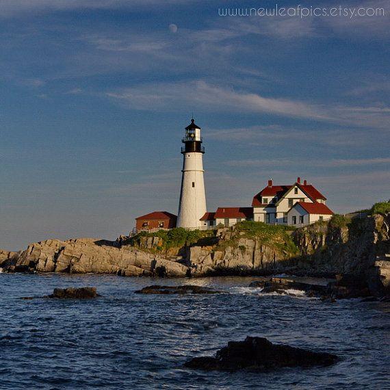 Portland Head Lighthouse photo Coastal Maine beach by NewLeafPics