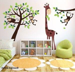 Monkey Tree Jungle Nursery Wall Art Stickers Decals Giraffe Childrens Bedroom