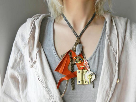Trending leather bib necklace in burnt orange Steampunk
