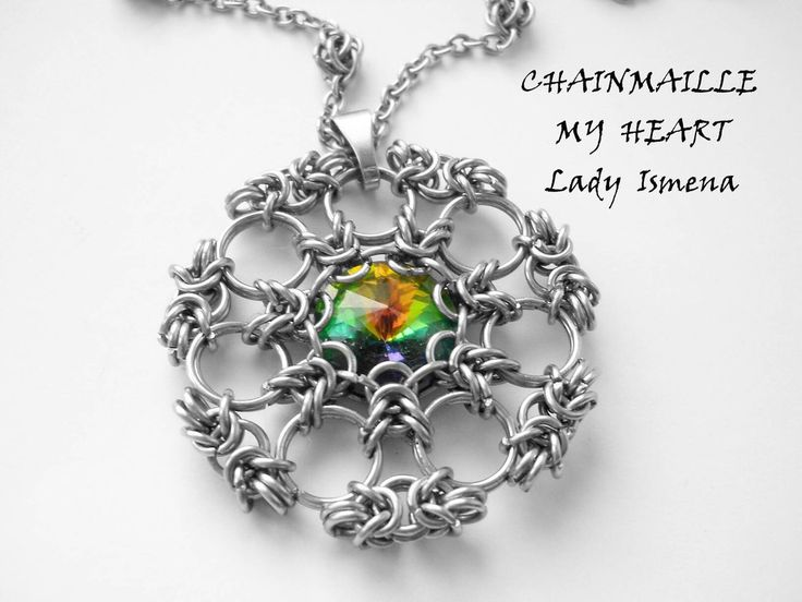 316l steel chainmaille rivoli pendant by chainmaille-my-heart
