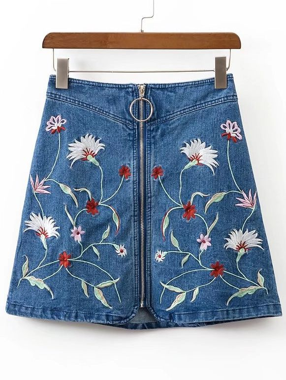 Shop Zipper Front A Line Denim Skirt online. SheIn offers Zipper Front A Line Denim Skirt & more to fit your fashionable needs.