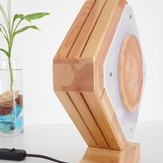 Wooden table lamp of solid redwood pine geometric bedside led