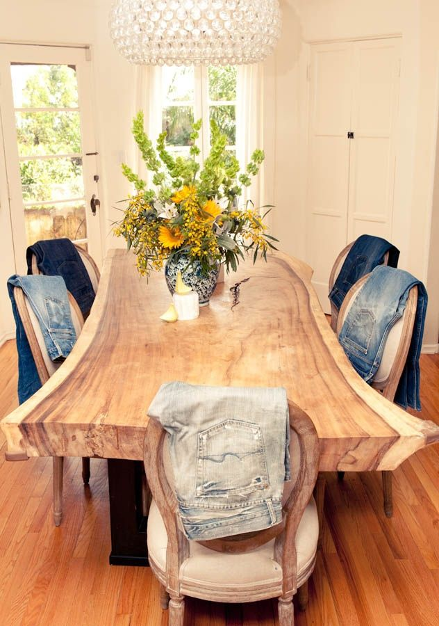 Yes an amazing slab dining table, but what's up with the denim jean party around it!?