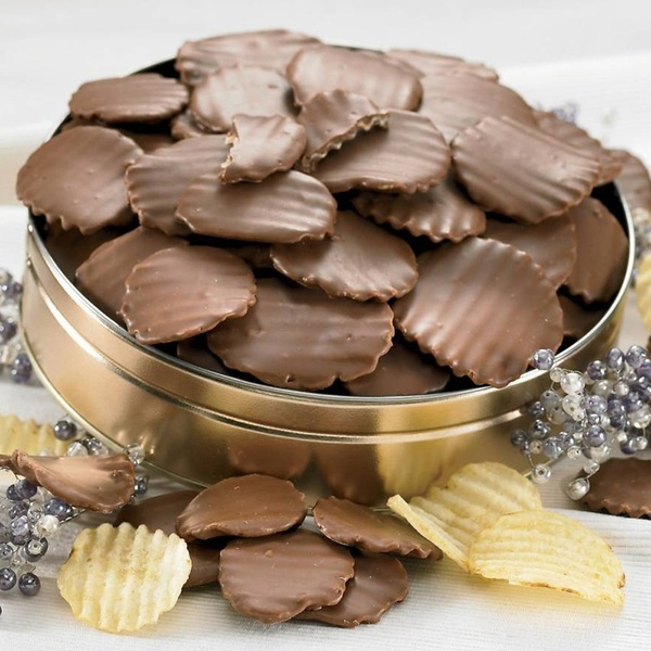 Chocolate-covered potato chips. Either just melt chocolate and dip the chips in, or check out the website on how to create chips with one side covered :)