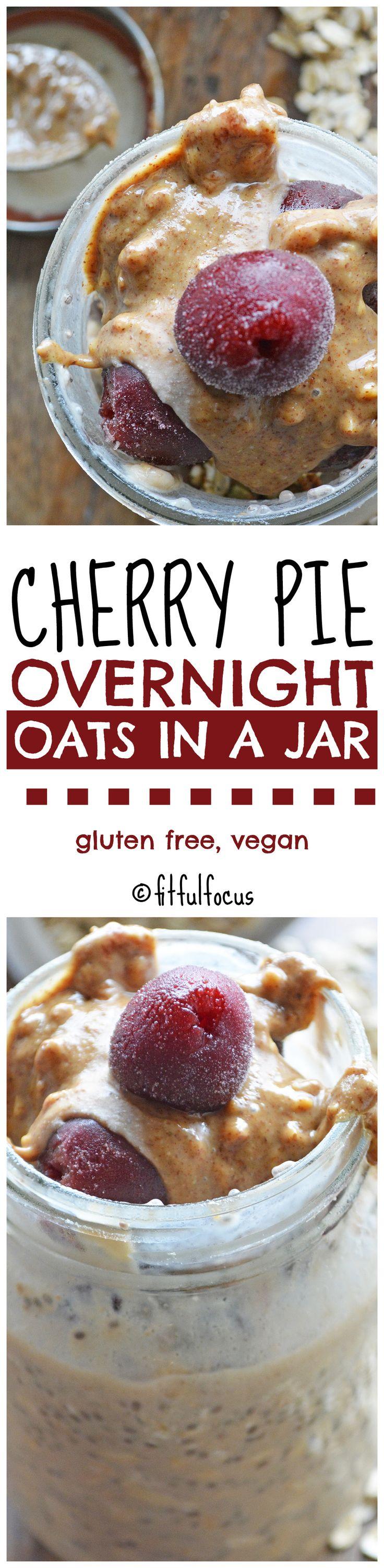 Cherry Pie Overnight Oats in a Jar | Healthy Breakfast Recipes | Gluten Free | Vegan | Dessert for Breakfast | Cherries | Cherry Oatmeal | Meatless Monday