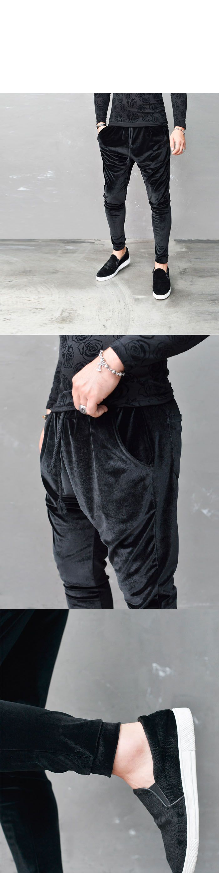 Bottoms :: Sweatpants :: Velvet Baggy Cuffed Jogger-Sweatpants 225 - Mens Fashion Clothing For An Attractive Guy Look