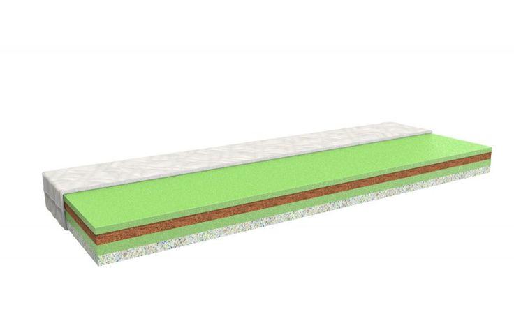 Tvrdá matrace XXL má vysokou nosnost 150 kg. Její vnitřní jádro zkokosových vláken a studené pěny zajišťuje vynikajícítermoregulaci a odvod vlhkosti.