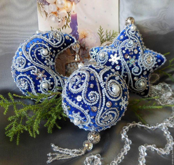 Купить Елочные украшения СИНИЙ ИНЕЙ из бархата - тёмно-синий, елочные игрушки, елочные украшения