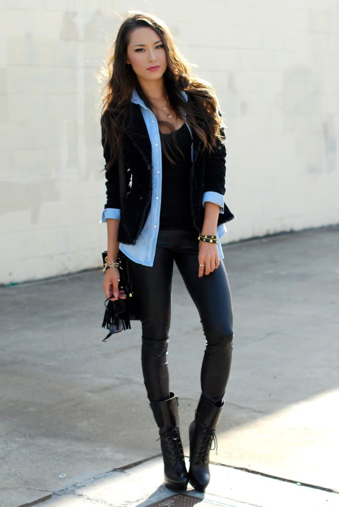chambray shirt with leather trousers and boots