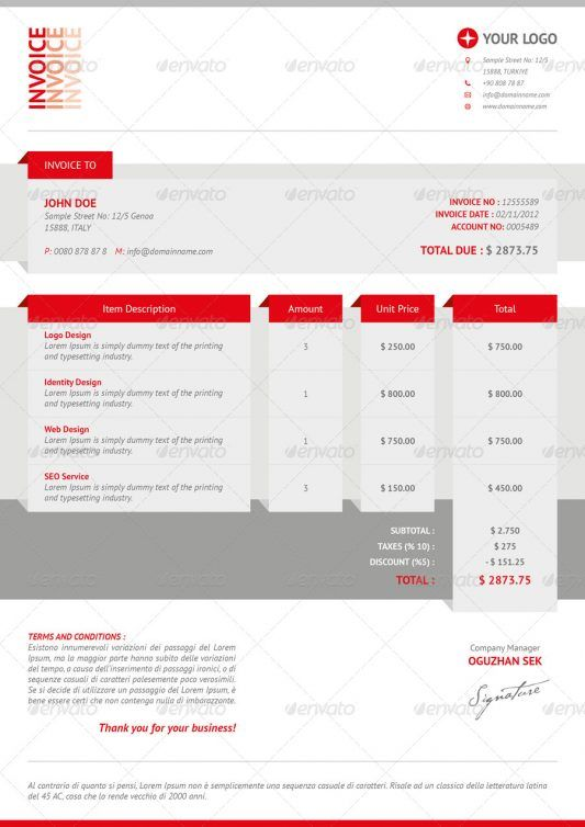 Best Invoice Designs  Creative Invoice Template Designs
