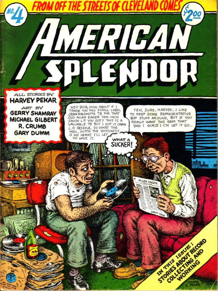 "American Splendor by Harvey Pekar   R. Crumb cover ""Trading records"""