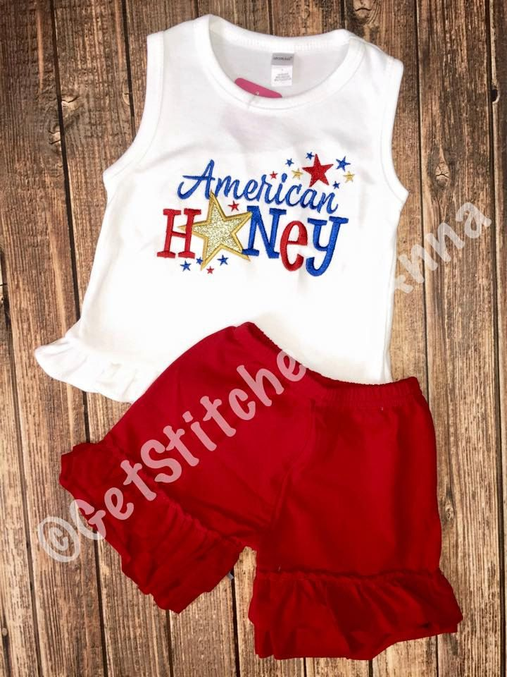 American Honey, 4th of July shirt, girls patriotic shirt, red knit ruffle shorts, fourth of july monogrammed outfit by GetStitchedByAnna on Etsy