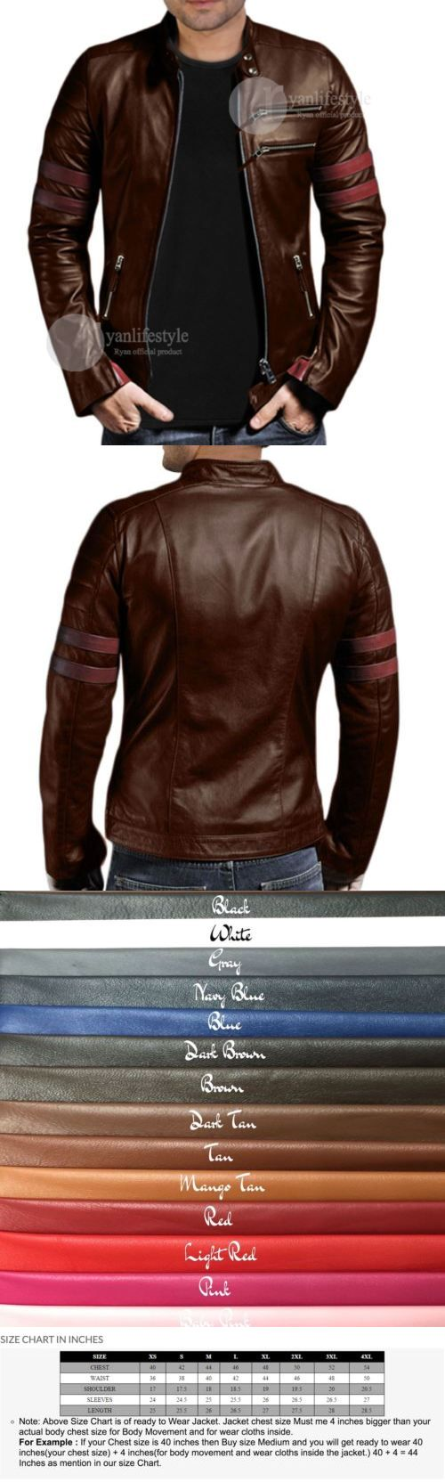 Men Coats And Jackets: Leather Jacket Mens Motorcycle Biker New Lambskin Coat Slim Men Jacket 960 -> BUY IT NOW ONLY: $119 on eBay!