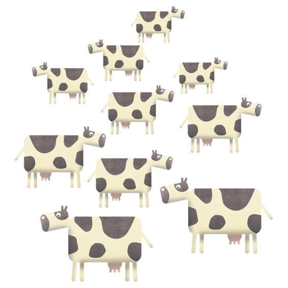 Cow Herd Wall Stickers Multicoloured