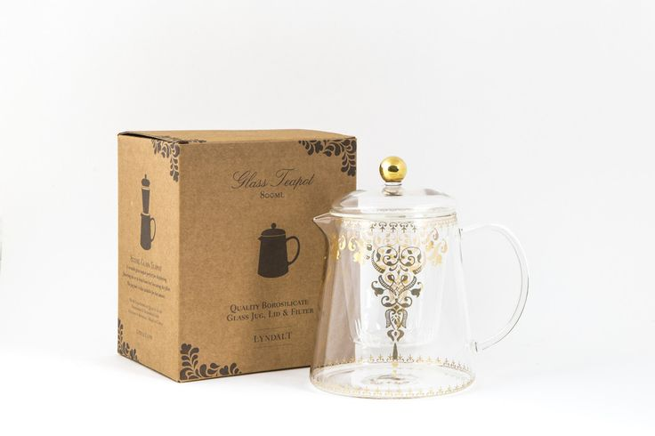 #Quality #Borosilicate #Glass #Teapot, #Jug, #Lid & #Filter. A #versatile #glass #teapot with a #gold #Moroccan #design, perfect for #displaying #flowering #tea. #Hot & #cold #resistant #quality glass. lyndalt.com