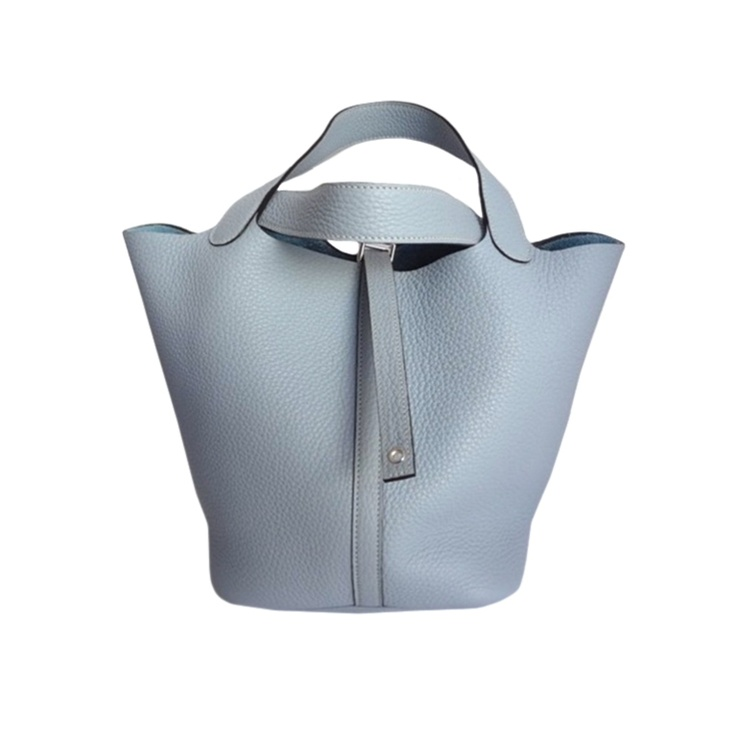 Hermes Picotin MM Bleu Lin. Taurillon Clemence - baby dusty blue ...