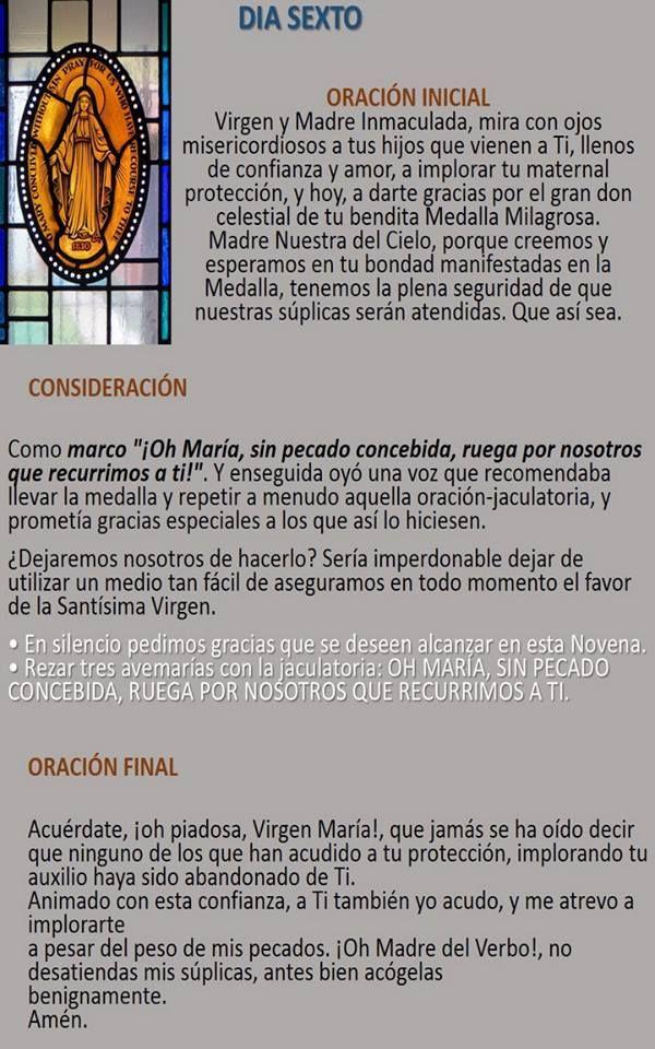 NOVENA A LA VIRGEN DE LA MEDALLA MILAGROSA – DÍA SEXTO Oh María, Sin Pecado Concebida…