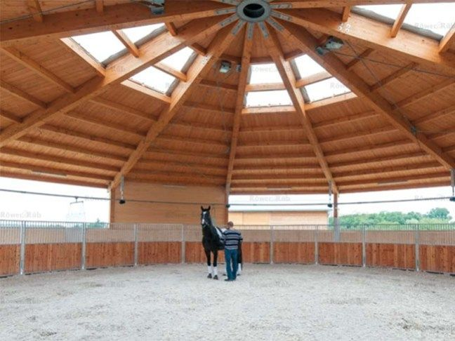 Covered round pen with stained wood + hot walker line
