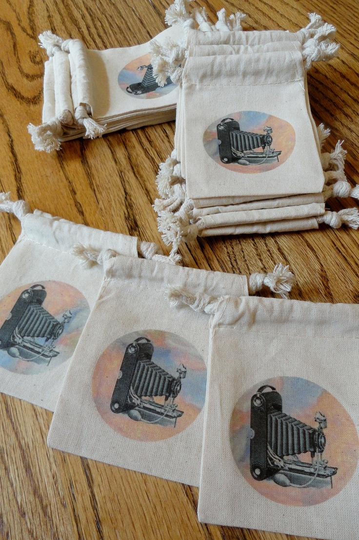 Muslin Favor Bags or Gift Bags-Set of 10 VINTAGE CAMERA on Eco-Friendly Natural Muslin Drawstring Pouches. $13.75, via Etsy.