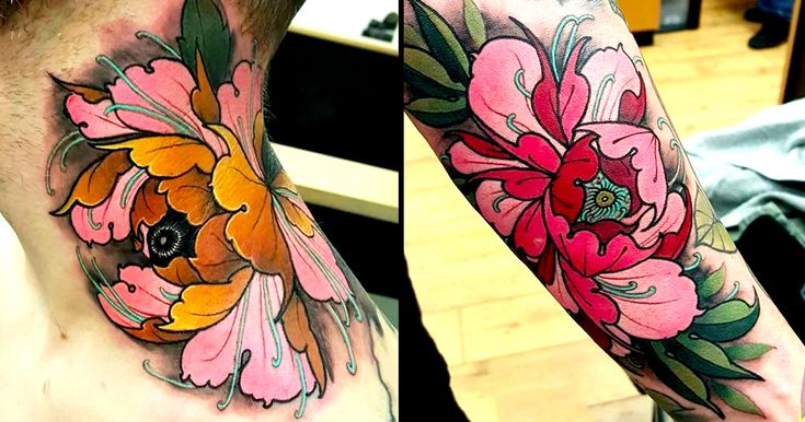 Elliott Wells tattoos epic Japanese and neo-traditional artwork. For me, he is the master of peonies.