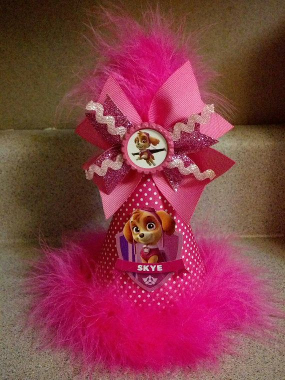 Paw patrol skye Party hat with removable hair bow by acraftylife13