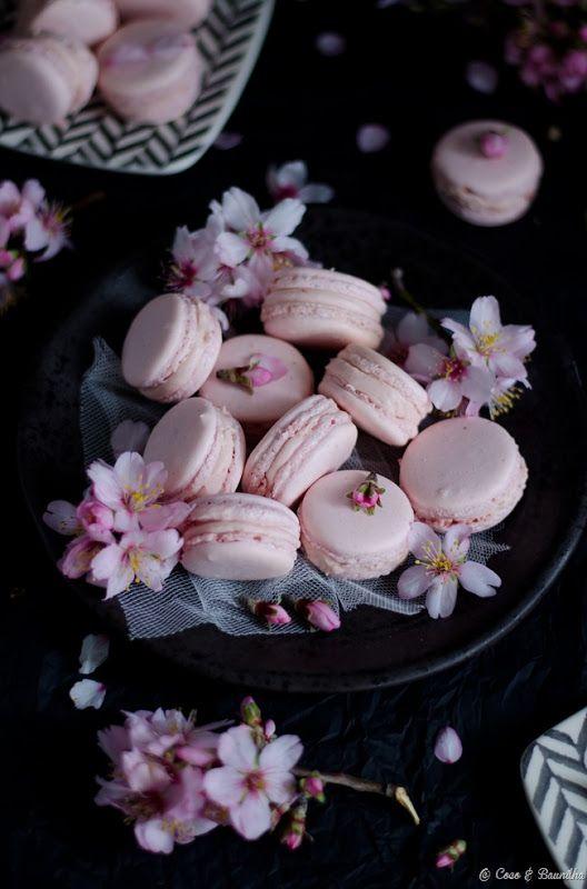 Macarons com ganache de morango