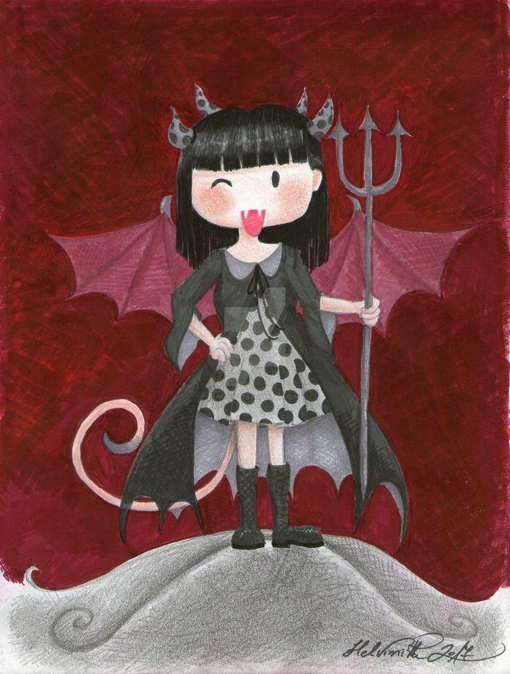 Tiny Demon Girl by Helviriitta.deviantart.com on @DeviantArt