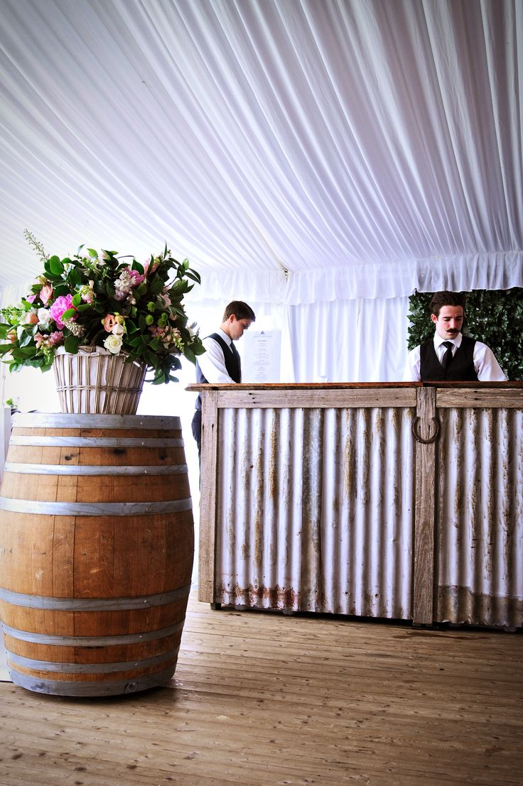 RUSTIC COCKTAIL HOUR. Made from corrugated iron, recycled timbers and horseshoe adornment, our rustic Bush Bar is perfect for any country styled event. Hire details: Bush Bar: http://www.youreventsolution.com.au/YESStore/products_detail.php?ProductID=73 Wine Barrel: http://www.youreventsolution.com.au/YESStore/products_detail.php?ProductID=74 #weddings #WeddingHire #YourEventSolution