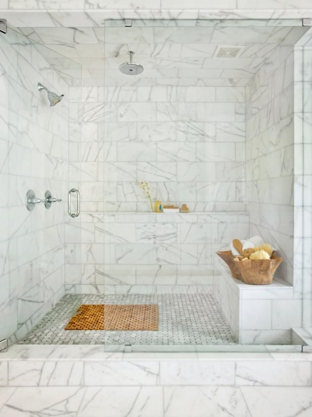 Beautiful Marble Spa Shower | HGTV >> http://www.hgtv.com/design-blog/design/treat-yo--self-day--our-editors-share-their-dream-splurges?soc=pinterest
