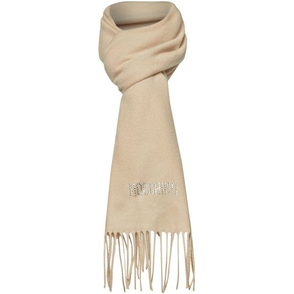 Moschino Cheap & Chic Diamante logo 100% merino wool scarf ...