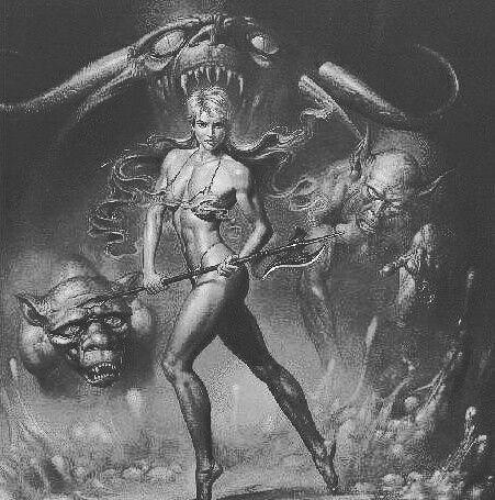 Идея для татуировки. Девушка-воин с демонами. #идеятату #рисунок #картинка #демоны #девушка #темныесилы #девушкавоин #мифы #легенды #художники