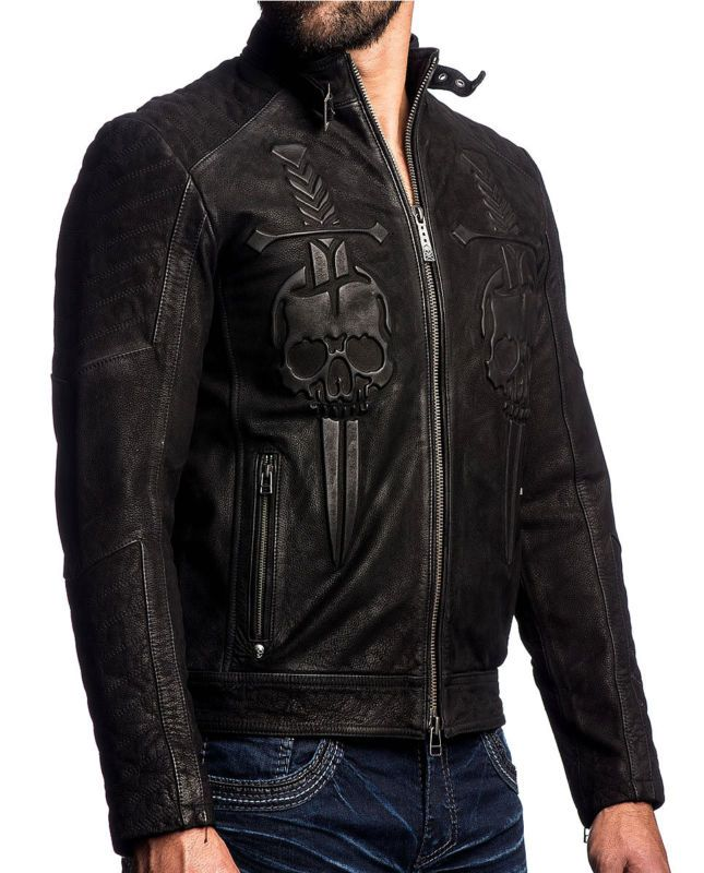 Affliction - MIDNIGHT HOUR - Men's Leather Biker Jacket MOTO -  Black Wash