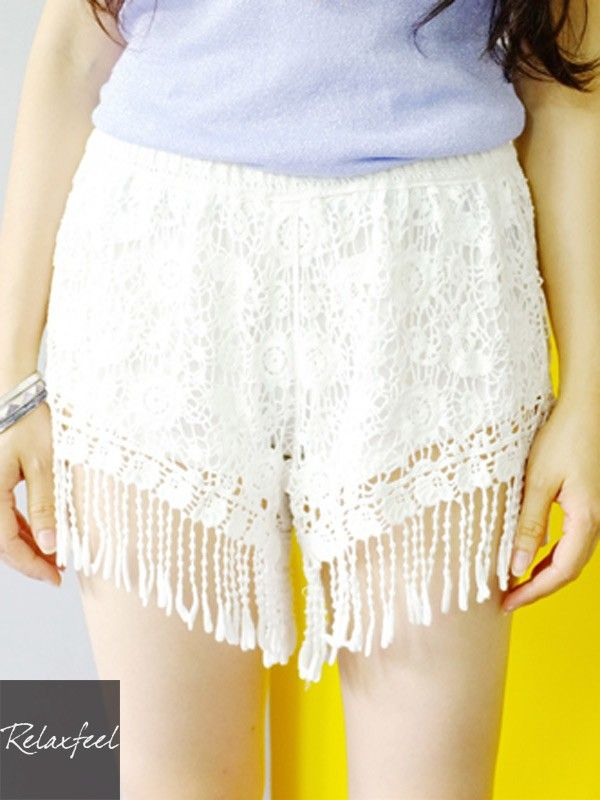 Relaxfeel Women's Lace Flowers-Fringed Shorts - New In