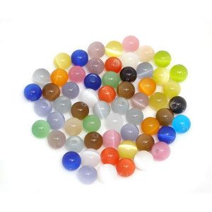 Image of 100 PCs At Random Grade B Synthetic Cat's Eye Glass Round Beads 8mm Findings