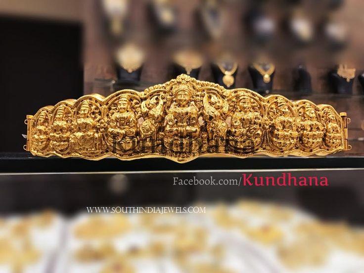 Gold Plated Waist Belt Designs, Gold Plated Laksmi Waist Belt Collections, Laksmi Vadanam 2017 Models.