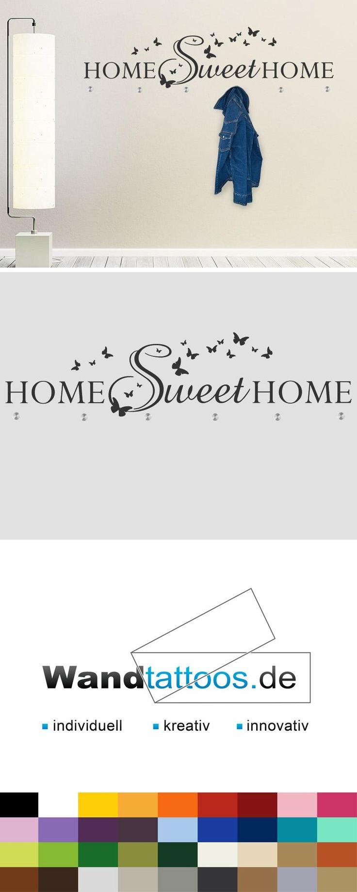 Wandtattoo Garderobe Sweet Home als Idee zur individuellen Wandgestaltung. Einfach Lieblingsfarbe und Größe auswählen. Weitere kreative Anregungen von Wandtattoos.de hier entdecken!
