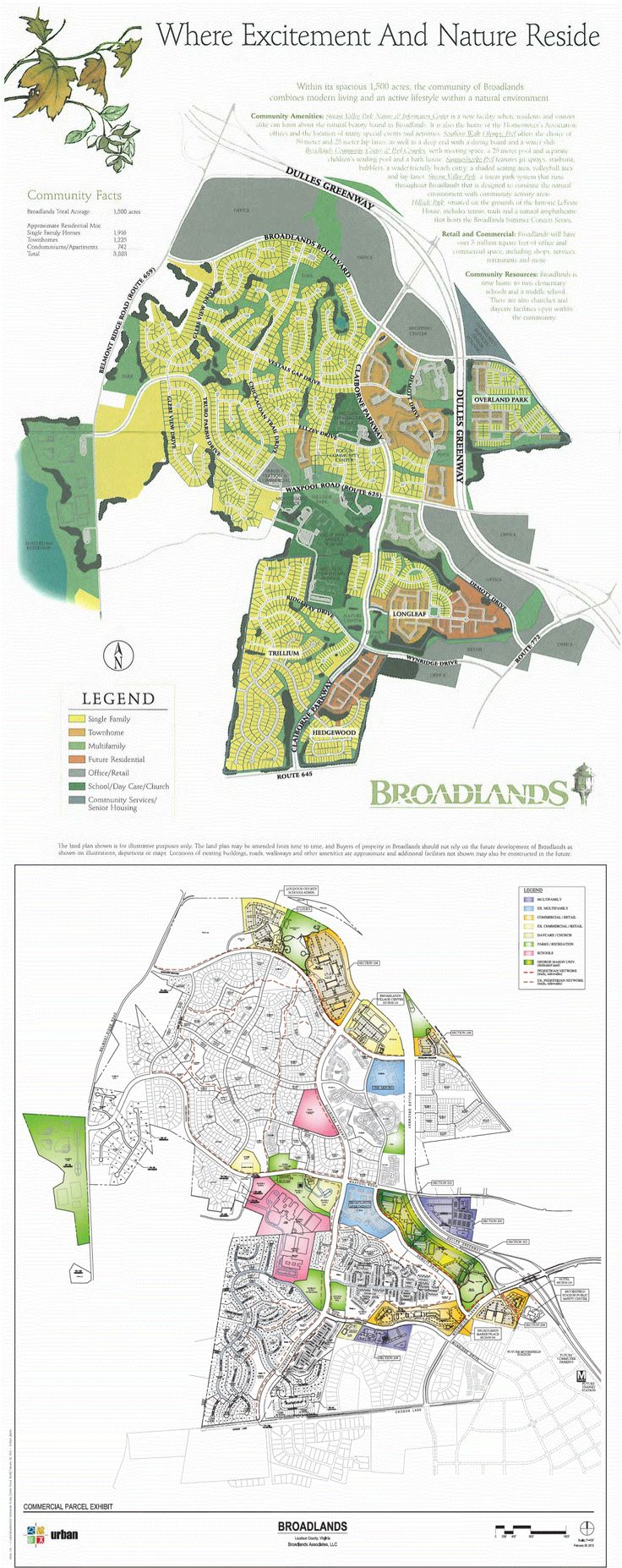 BEST PRACTICES in conservation of intangible property rights and preservation of nature's wetland legacy for our children's children -- map of mixed-use Broadlands HOA, Ashburn, Virginia