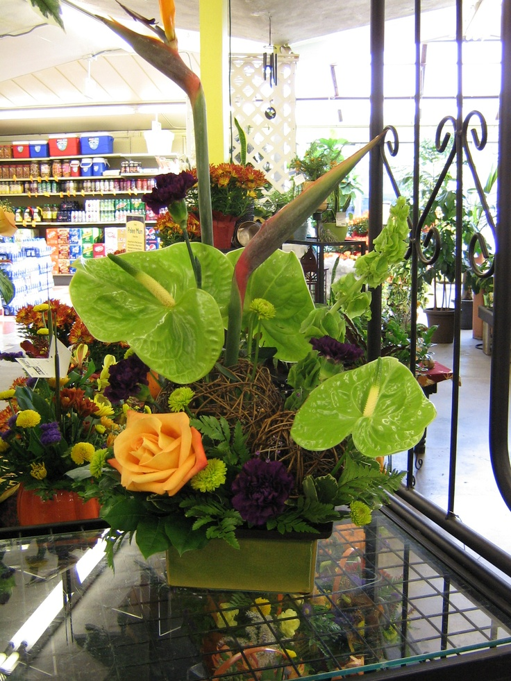 Birds of Paradise mixed with green anthurium for this beautiful floral arrangement from The Flower Shop at Stauffers of Kissel Hill. For more information visit http://www.skh.com.