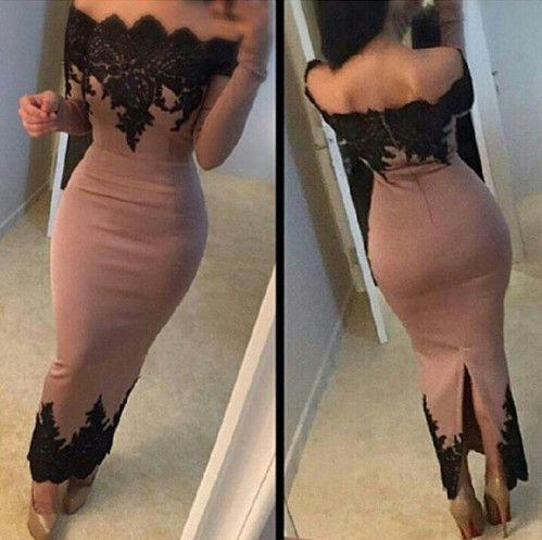 Scalloped Bateau Neckline Long Sleeves Tea Length Casual Dress on Luulla