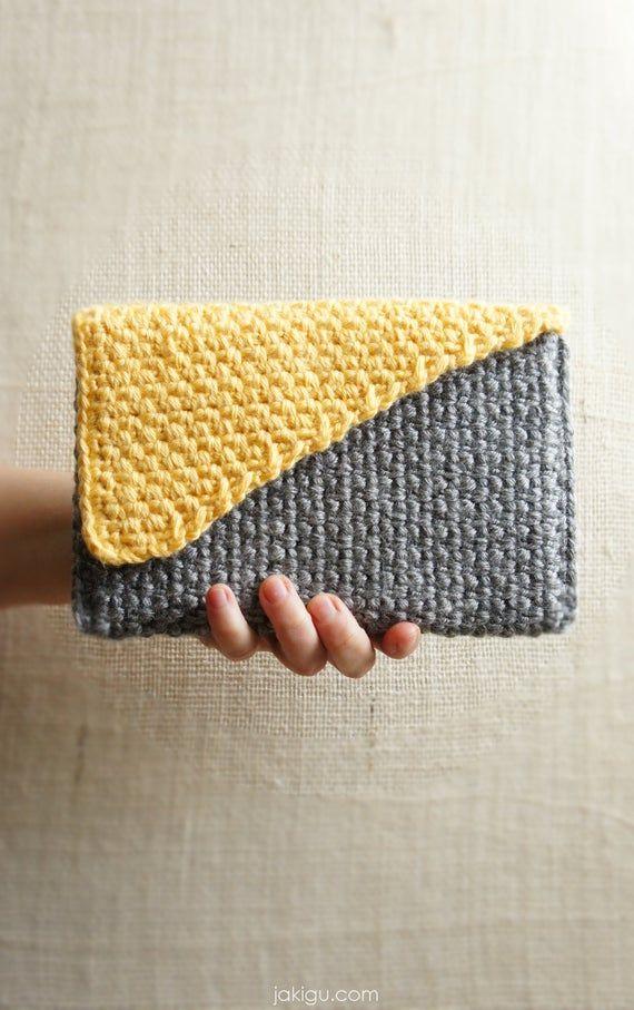 Crochet Clutch With Geometric Color Block Bias Flap Pdf Etsy Crochet Handbags Patterns Crochet Clutch Crochet Case