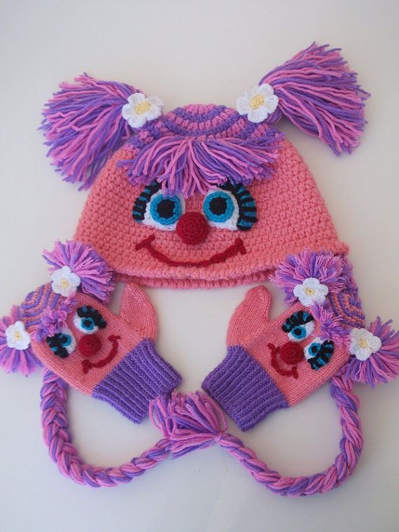 Abby Cadabby  Hat and gloves Crochet Baby  Hat by myknittingworld, $50.00