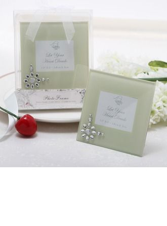 Glass Photo Frames With Rhinestone (051075150) - Practical Favors - JJsHouse