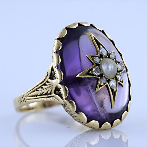 1860s Victorian Amethyst, Pearl, and Diamond Ring