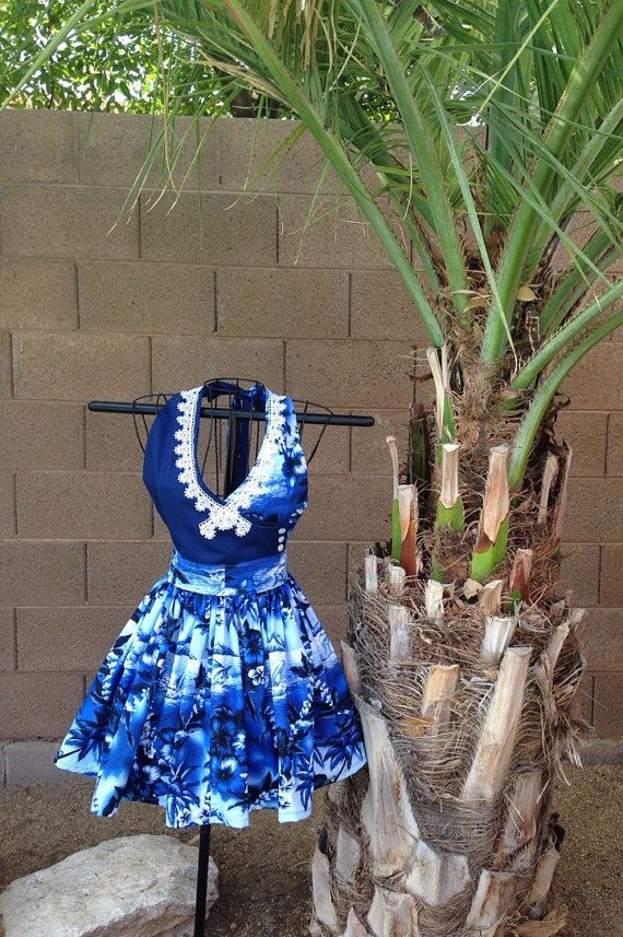 Hawaiian apron tropical apron by BackRoadOriginals on Etsy