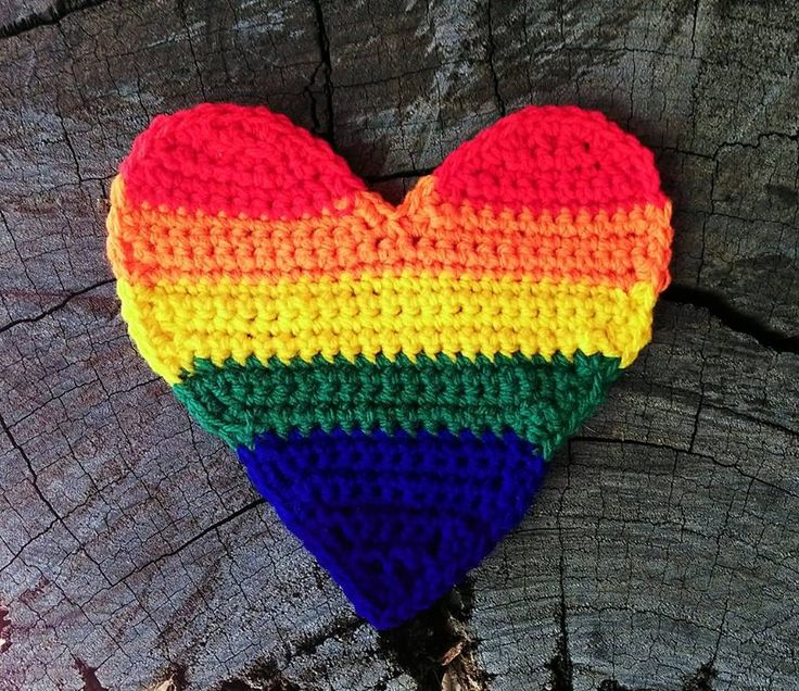 Rainbow Love Heart...on wood.   Project information and pattern notes here;   http://www.ravelry.com/projects/LindaDavie/rainbow-love-heart
