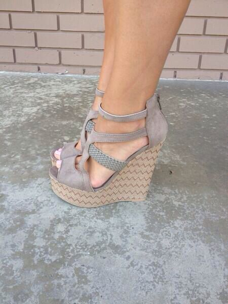 Florence zig zag wedges in beige from dainty hooligan